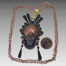 Vintage Mexican Copper Pendant Necklace