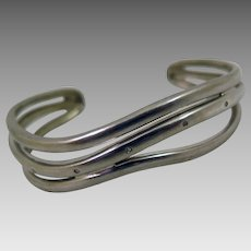 Vintage Sterling Silver Diamond Bracelet Cuff