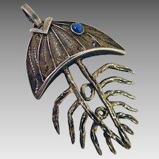Vintage Sterling Silver Fish Bone Pendant