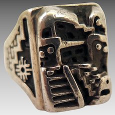 American Indian Sterling Silver Pueblo Ring Size 10.75