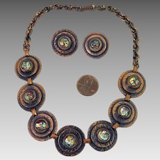 1940s Rebajes Copper Art Glass Necklace Earrings Set