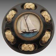 Goofus Glass Bakelite Brooch Sailboat Reverse Painted Intaglio