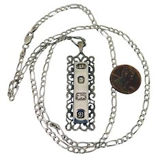 1978 London Sterling Silver Ingot Pendant Necklace