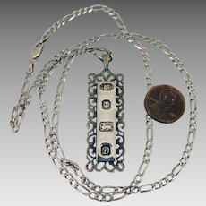1959 London Sterling Silver Ingot Pendant Necklace