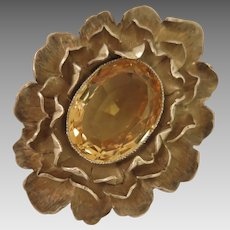 Vintage Sterling Vermeil Citrine Flower Buckle
