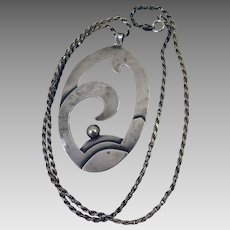Arts and Crafts Sterling Silver Wave Pendant Necklace