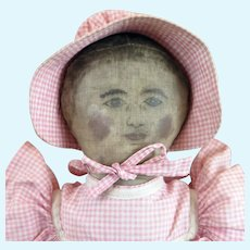 Antique Painted Cloth Doll 20 inches