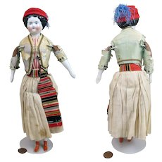 1870s German Flat Top China Doll All Original 11 inches