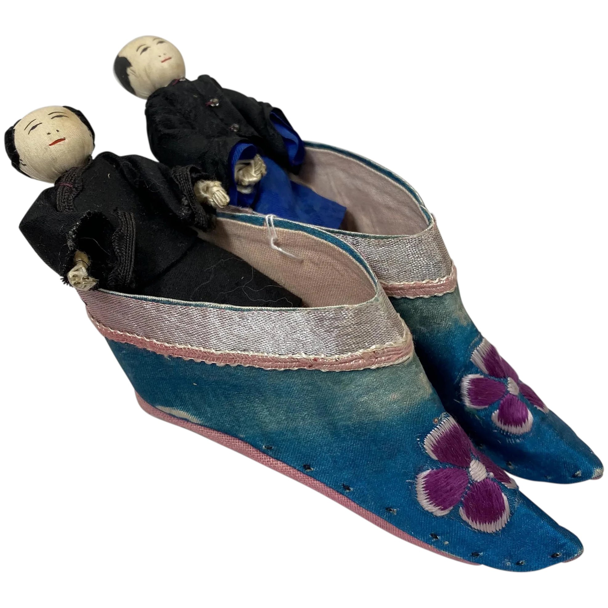 Antique Chinese Cloth Dolls And Shoes