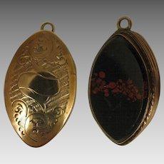 Antique Bloodstone Agate 9K Front Picture Locket Pendant