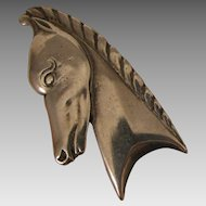 Art Deco Horse Head Fur Clip Brooch