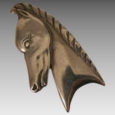 Art Deco Horse Head Fur Clip Brooch