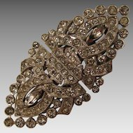 1936 - 37 Trifari Rhinestone Clipmates Duette Brooch Dress Clips Set