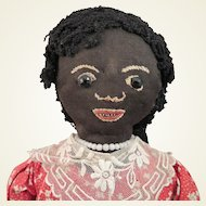 1930s Black Cloth Gourd Folk Art Doll 12 inch