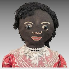 1930s Black Cloth Gourd Folk Art Doll 12 inch
