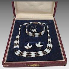 Art Deco Moonstone Glass Necklace Bracelet Earrings Ring Set