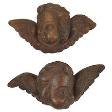 Carved Wood Angel Heads Antique Pair