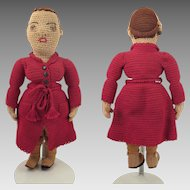 1920s Crocheted Cloth Lady Doll 15 inches