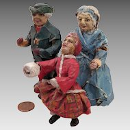 Antique Home Made Papier Mache Doll House Dolls Set of 3