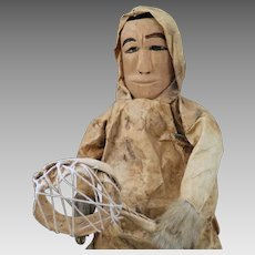 Early 1900s Alaskan Inuit Eskimo Wood, Leather, Cloth Doll 20 inches