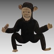 Antique Brown Velveteen Cloth Stuffed Monkey Toy