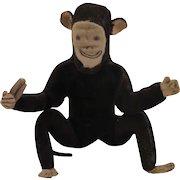 Antique Brown Velveteen Cloth Stuffed Monkey Toy