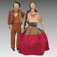 Mexican Cloth Doll Pair 6.5 inches c. 1900