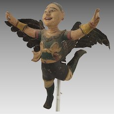 Antique Wood and Metal Indonesian Flying Angel Doll Figure