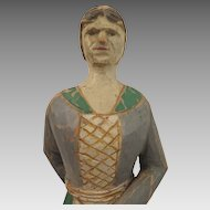 Antique Folk Art Carved Wood Doll Figure 11.5 inches