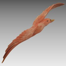 Vintage Pink Celluloid Flying Bird Brooch