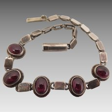 Antique Sterling Silver Garnet Bracelet 7.125 inches