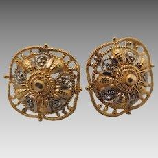 Vintage 21K Gold Pierced Earring Studs