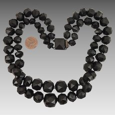 Victorian Whitby Jet Double Necklace 18 inches