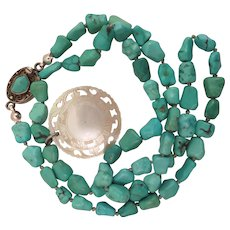 Chinese Export Turquoise Necklace with Mother of Pearl Pendant