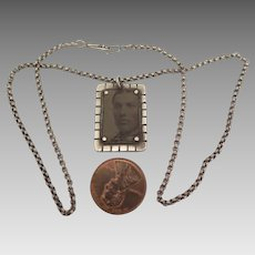 Victorian Tintype Memorial Pendant Necklace