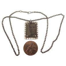 Victorian Tintype Memorial Pendant Necklace