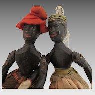 1880s Edward Ives Black Wood Dancing Dolls Pair