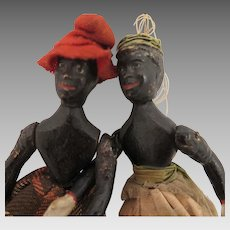 1880s Edward Ives Black Wood Dancing Dolls Pair