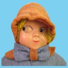 Vintage Googly Felt Doll with Celluloid Mask Face 10 inches