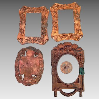 4 Antique Pressed Copper Doll House Picture Frames