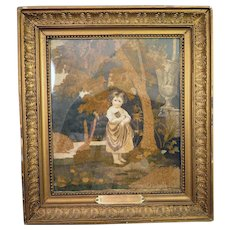 Antique French Silk Chenille Embroidery Girl with Cat