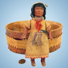 Early 1900s Indian Doll in Birch Box 6 inches
