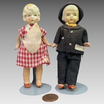 Pair All Original Japan All Bisque Dolls 4.5 inches