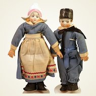 Pair German Dutch China Dolls 9.5""