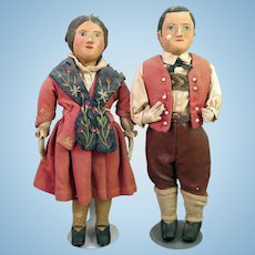 Pair WPA Papier Mache and Cloth Dolls 12 inches