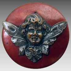Antique Copper Fairy Cupid Brooch