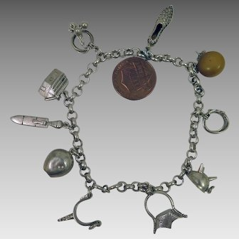 Vintage 800 Silver 10 Charm Bracelet