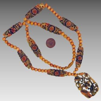 1920s Carved Flapper Necklace