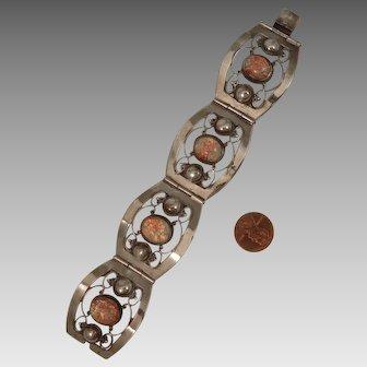 Vintage Mexican Sterling Silver Dragon's Breath Bracelet