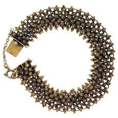 Antique Etruscan Revival Sterling Vermeil Bracelet
